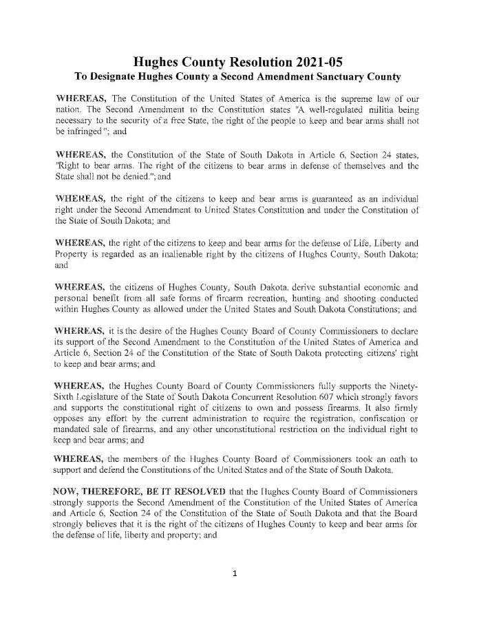 Hughes County South Dakota Resolution Page 1