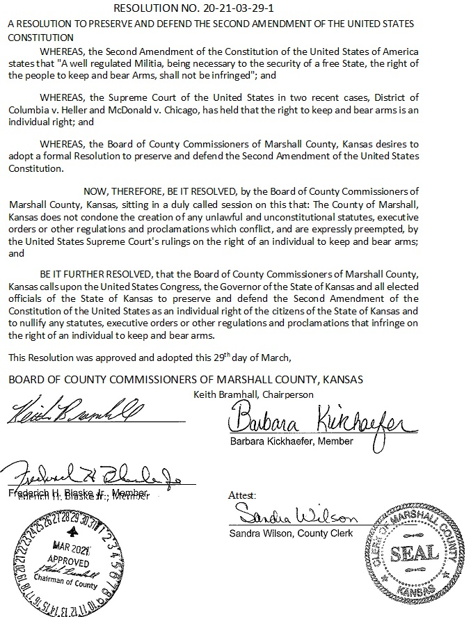 Marshall County Kansas 2nd Amendment Resolution Page 1