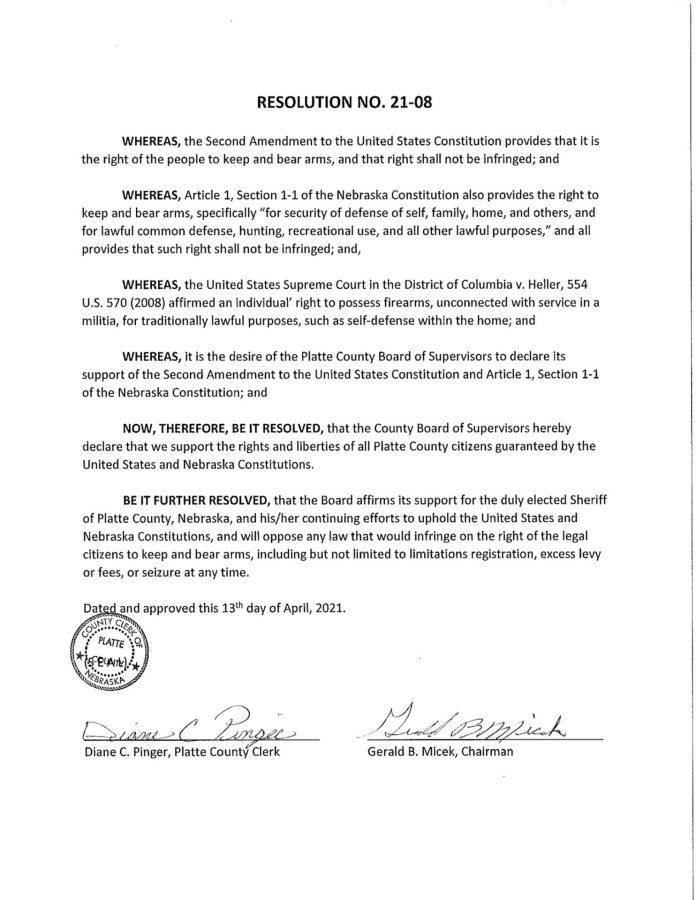 Platte County Nebraska Resolution No. 21-08 - 2nd Amendment support