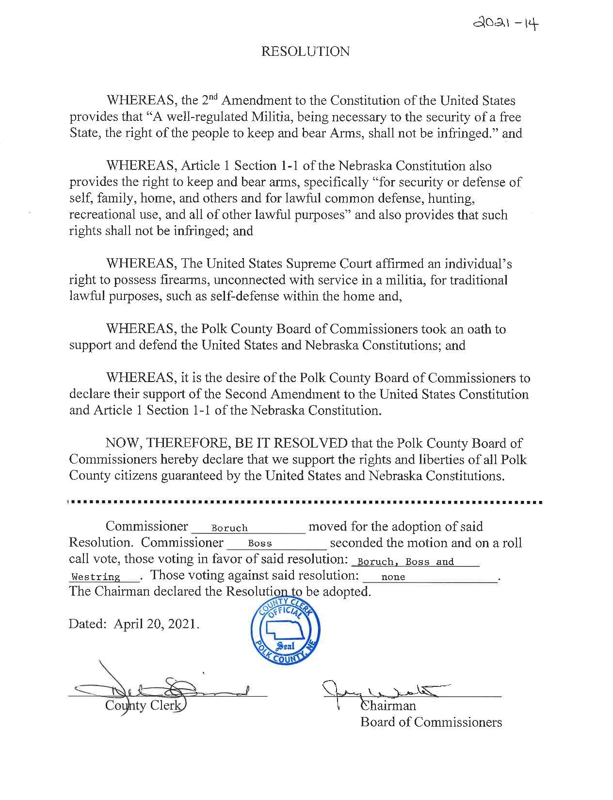 Polk County Nebraska 2A Resolution
