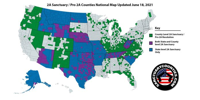 Second Amendment Sanctuary Counties National Map Update for June 18, 2021