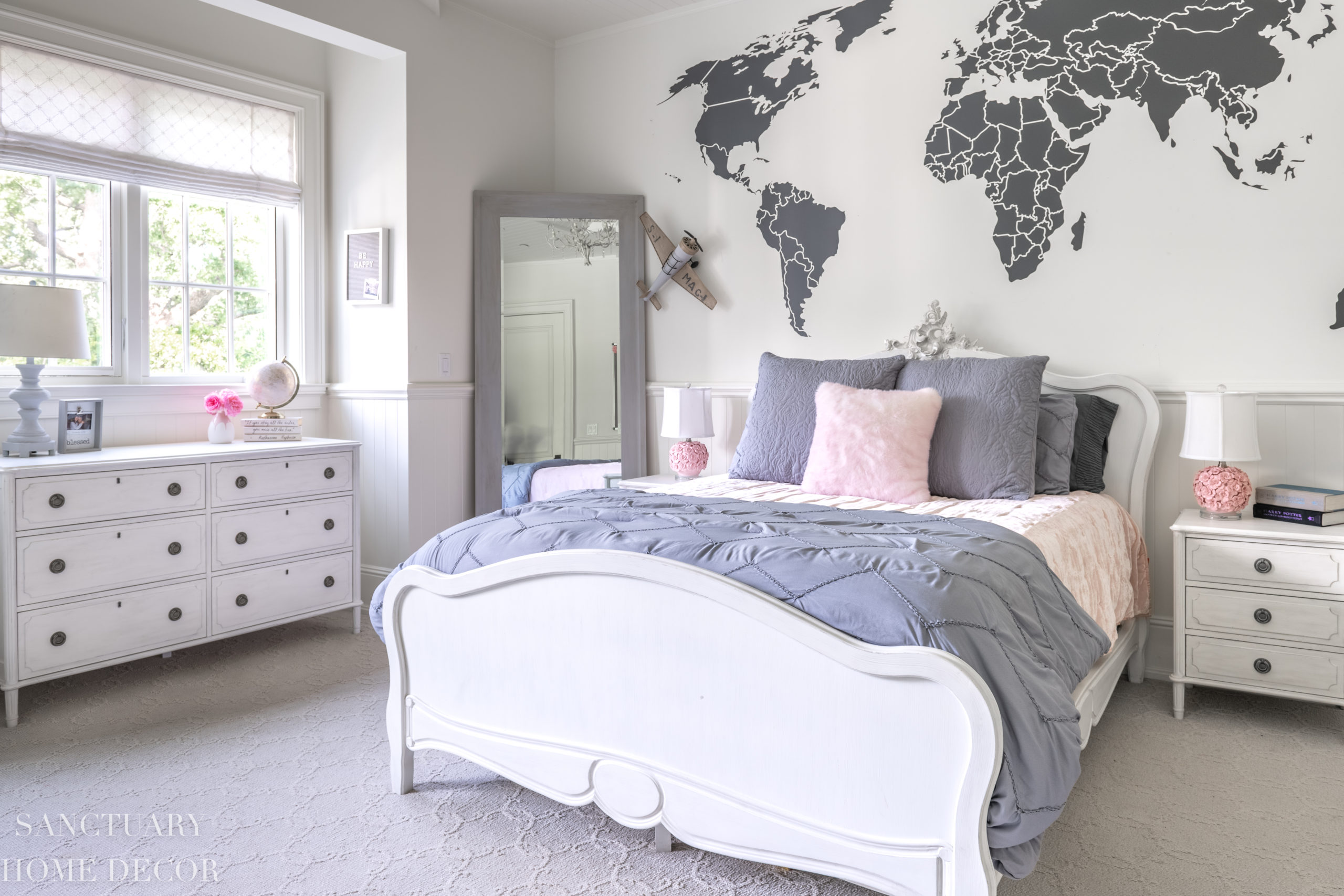 Pink and Gray Teen Bedroom Reveal - Sanctuary Home Decor on Teenage Bedroom  id=73832