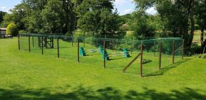 Large outdoor dog run made from Sanctuary SOS fencing