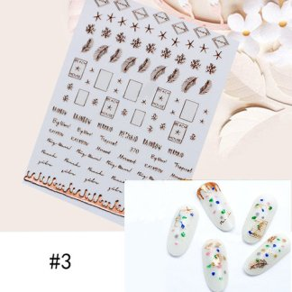 1 Sheet Star Alphabet Geometry Nail Sticker Rose Gold Feather Water Decal Manicure DIY Decoration