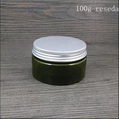 Plastic Jar-PET Plastic-10x100gms-Aluminum Screw lid-Green