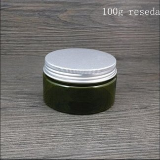 Plastic Jar-PET Plastic-10x100gms-Aluminum Screw lid-Green