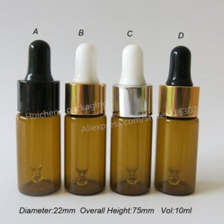 12pcs/lot 10ml Amber Empty Glass Essential Oil Dropper Bottle,10cc Brown Glass Dropper Vials