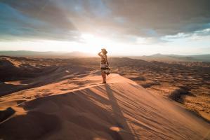 Sandboarding in California's Mojave Desert