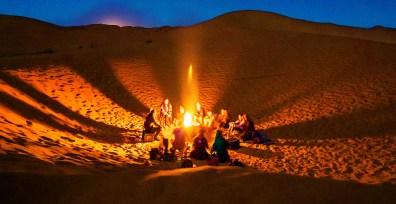 Dinner bonfire a desert camp.