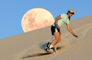 Sandboarding Atlantis Sand Dunes near Cape Town