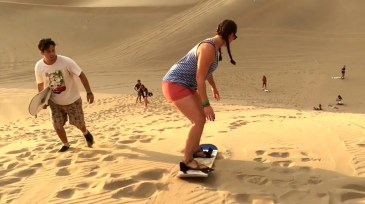 Sand surfing the dunes