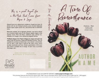 Print layout for Pre-Made Book Cover ID#181104TA01 (A Time of Remembrance)