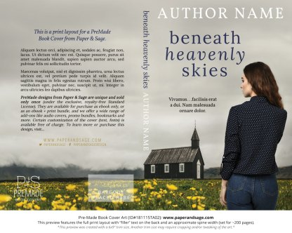 Print layout for Pre-Made Book Cover ID#181115TA02 (Beneath Heavenly Skies)