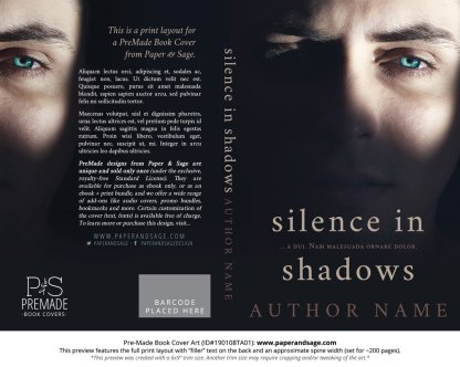 Print layout for Pre-Made Book Cover ID#190108TA01 (Silence in Shadows)