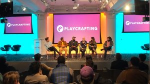 """Rob on stage at Playcrafting's """"Getting Noticed"""" Panel"""