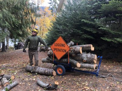 Tyler Quintano poses next to a cart full of cherry logs with a sign that reads Logging Operation