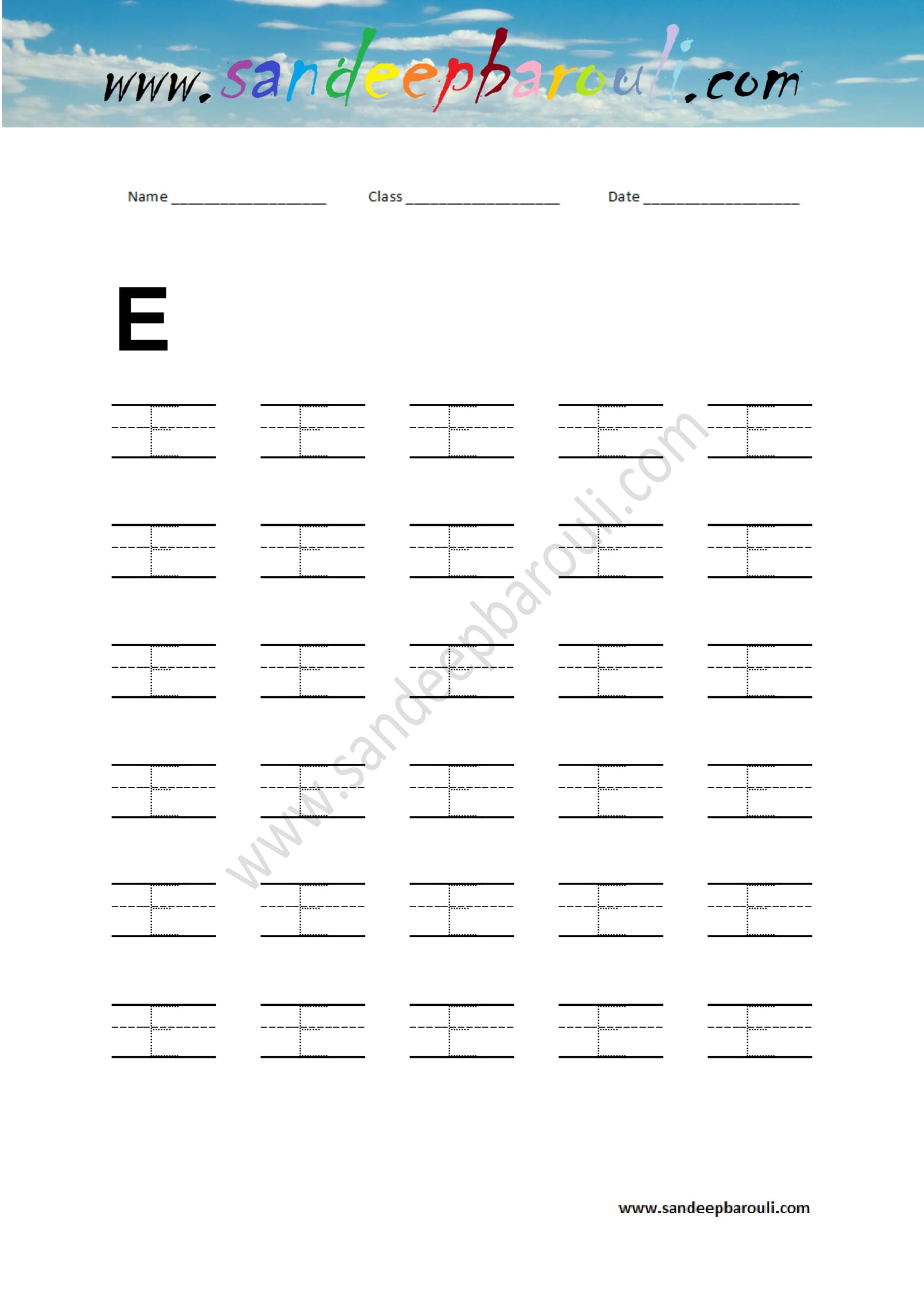 Handwriting Practice Letter E Sandeepbarouli