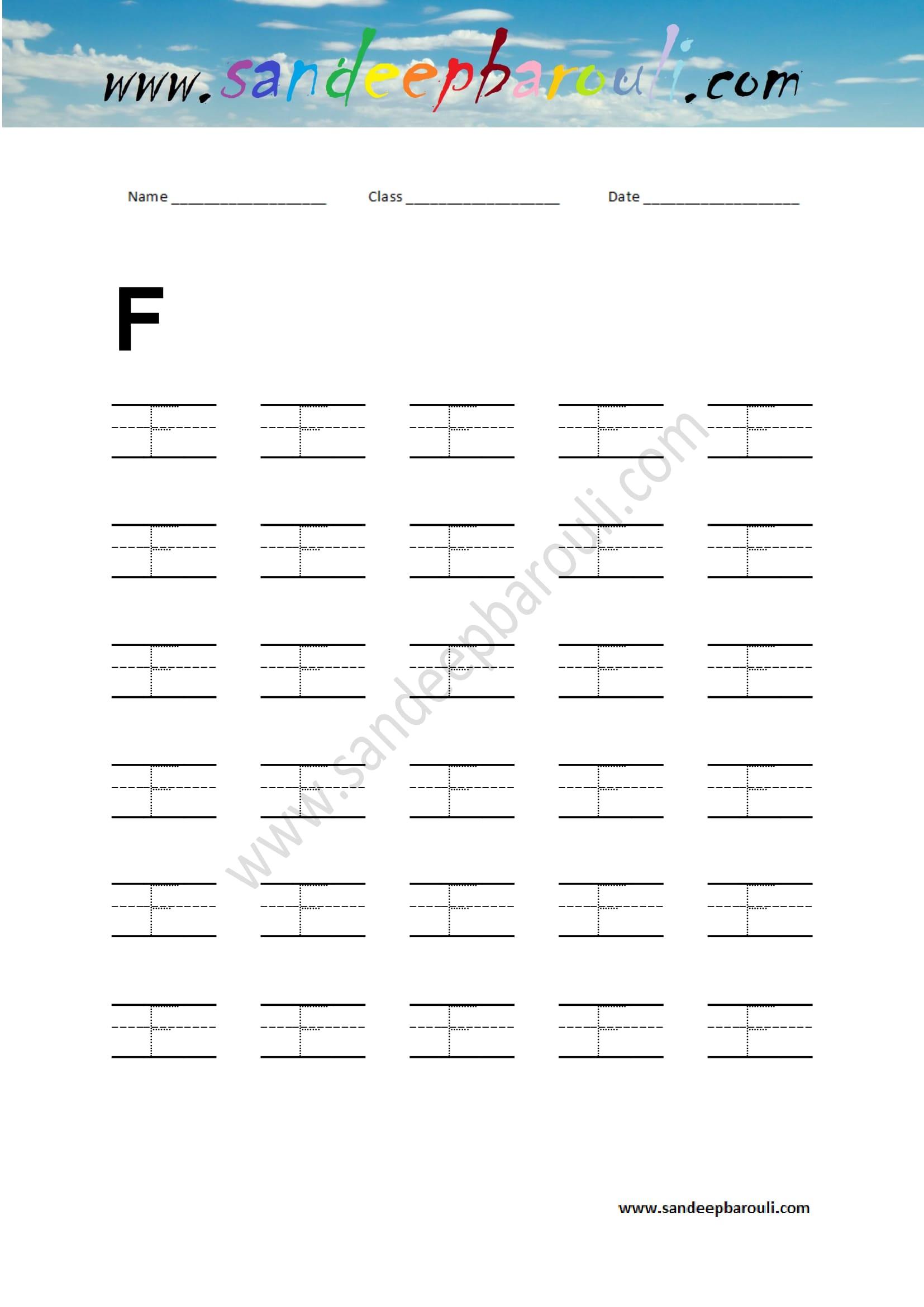 Handwriting Practice Letter F Sandeepbarouli