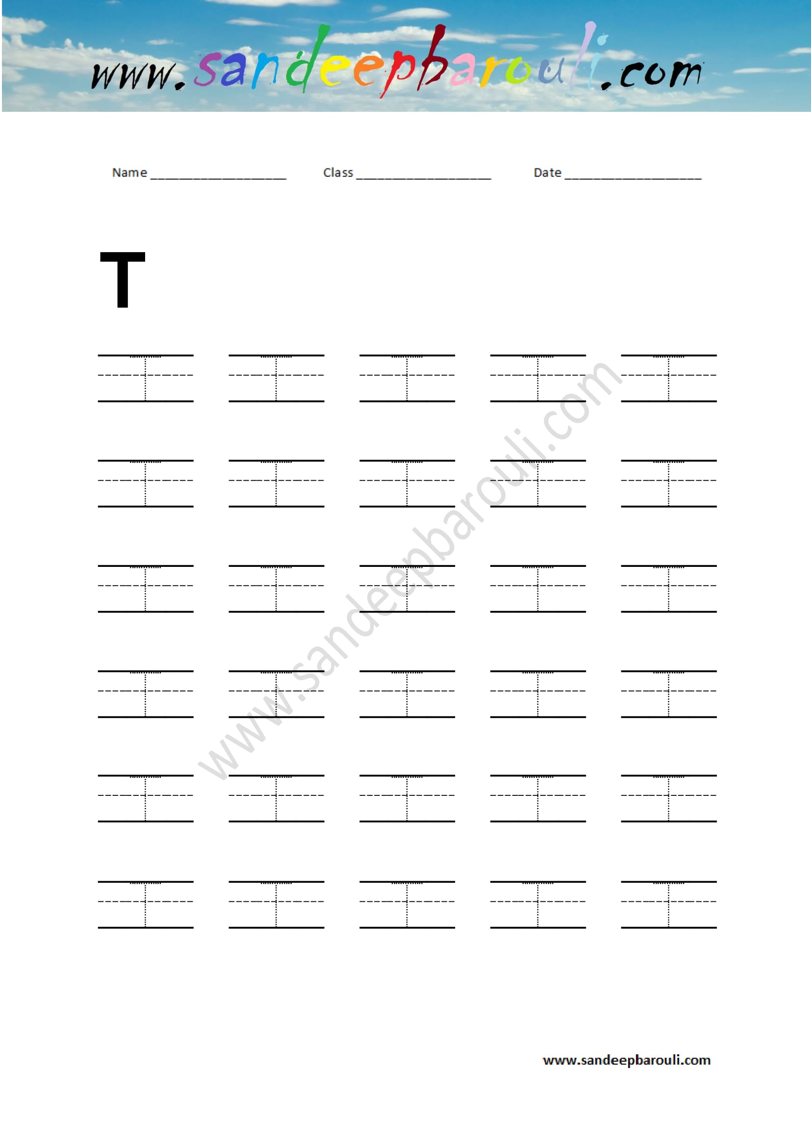 Handwriting Practice Letter T Sandeepbarouli