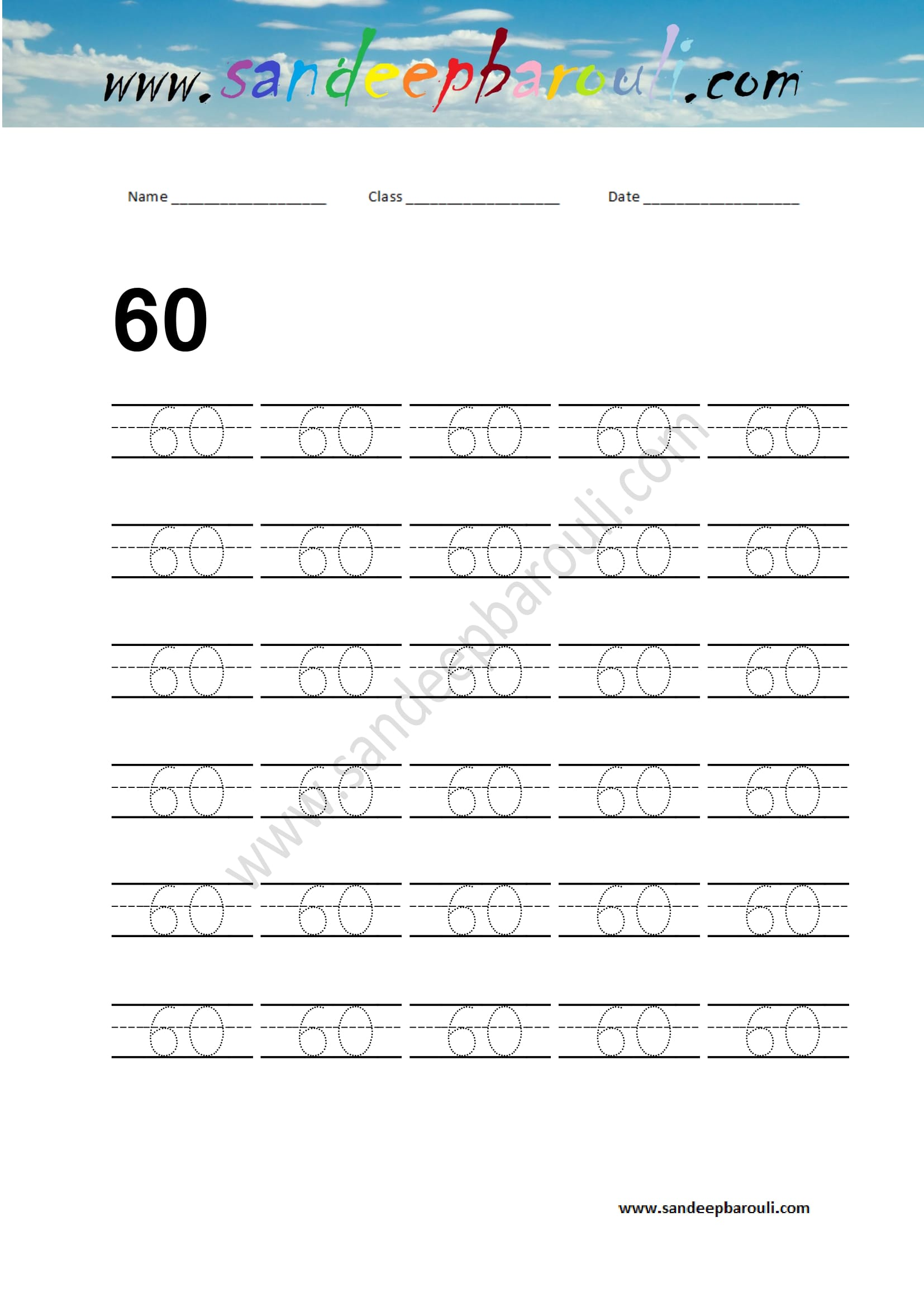 Number Writing Practice Number 60 Sandeepbarouli