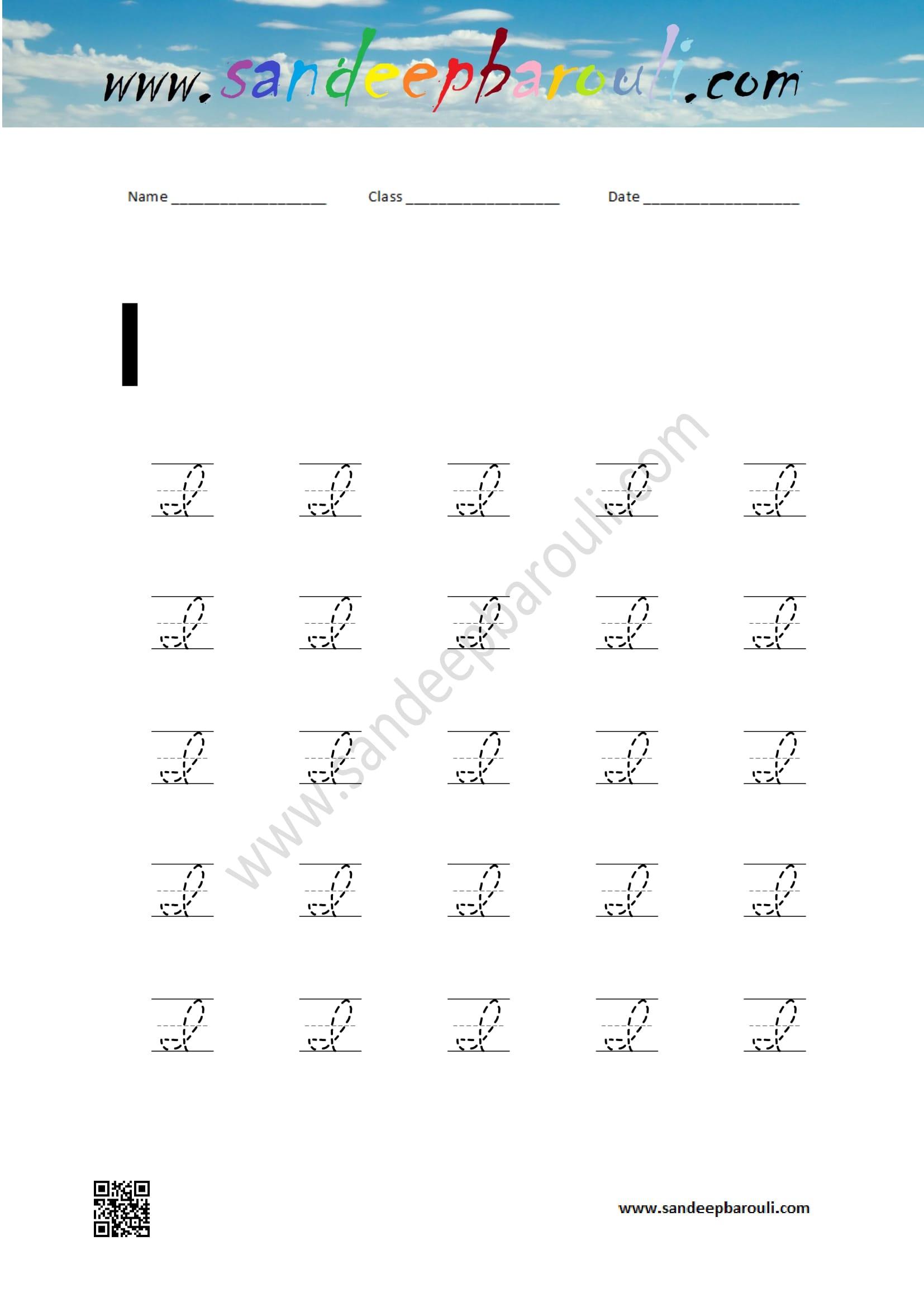 Cursive Writing Worksheet For I Sandeepbarouli