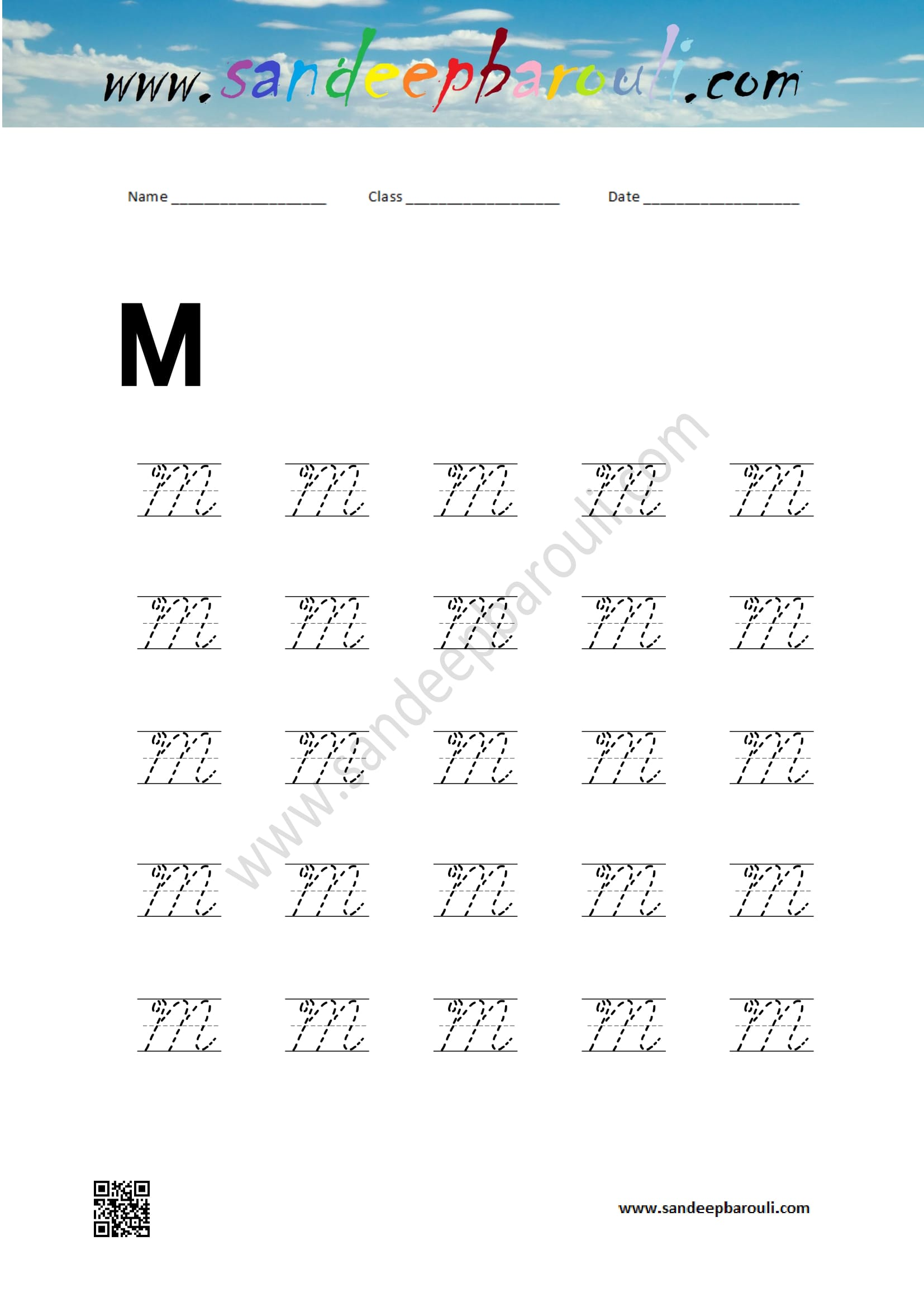 Cursive Writing Worksheet For M Sandeepbarouli