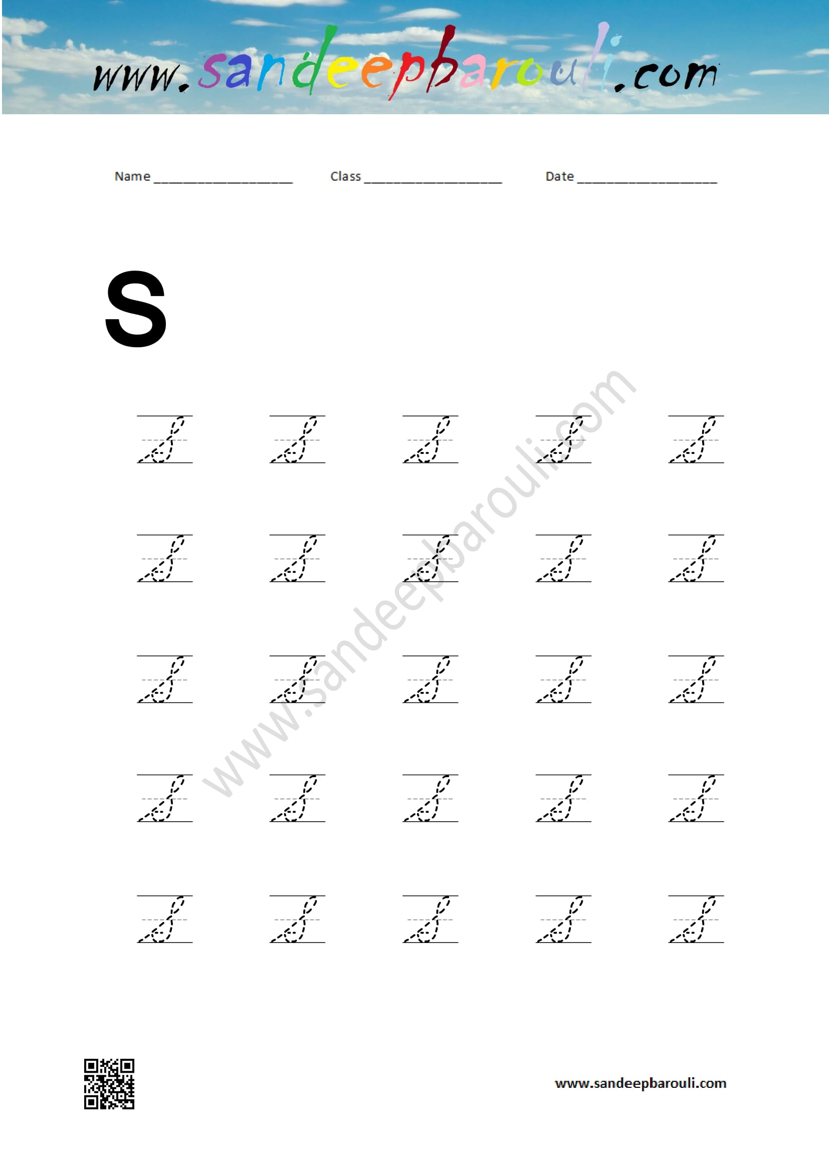 Cursive Writing Worksheet For S Sandeepbarouli