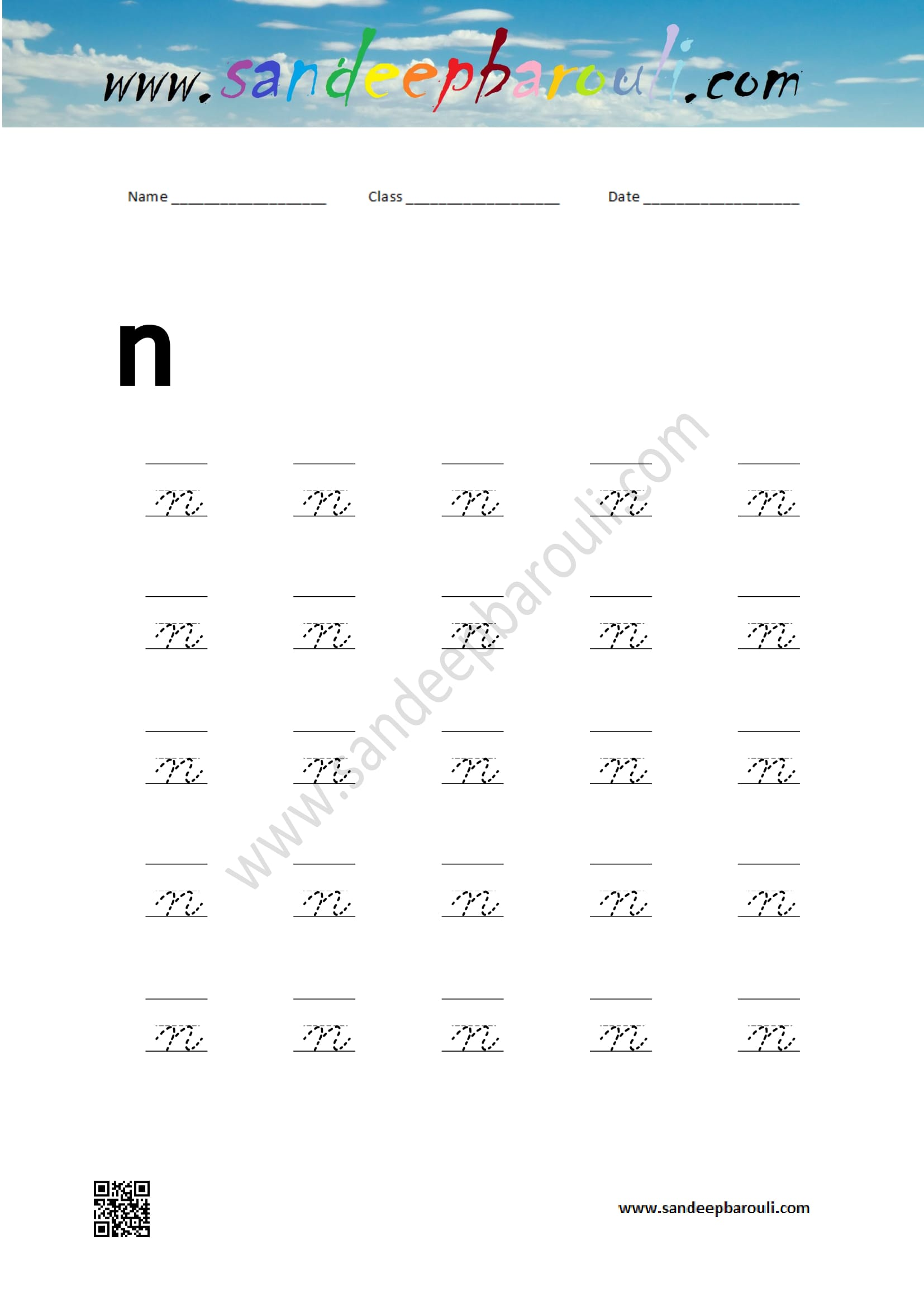 Cursive Writing Worksheet For Small Letters N