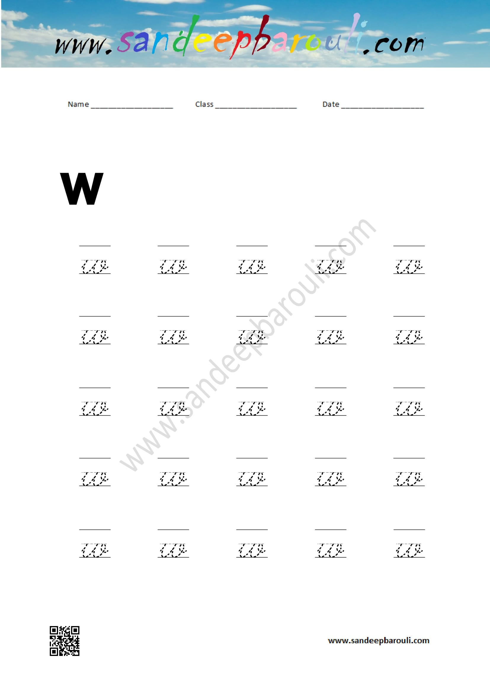 Cursive Writing Worksheet For Small Letters W Sandeepbarouli