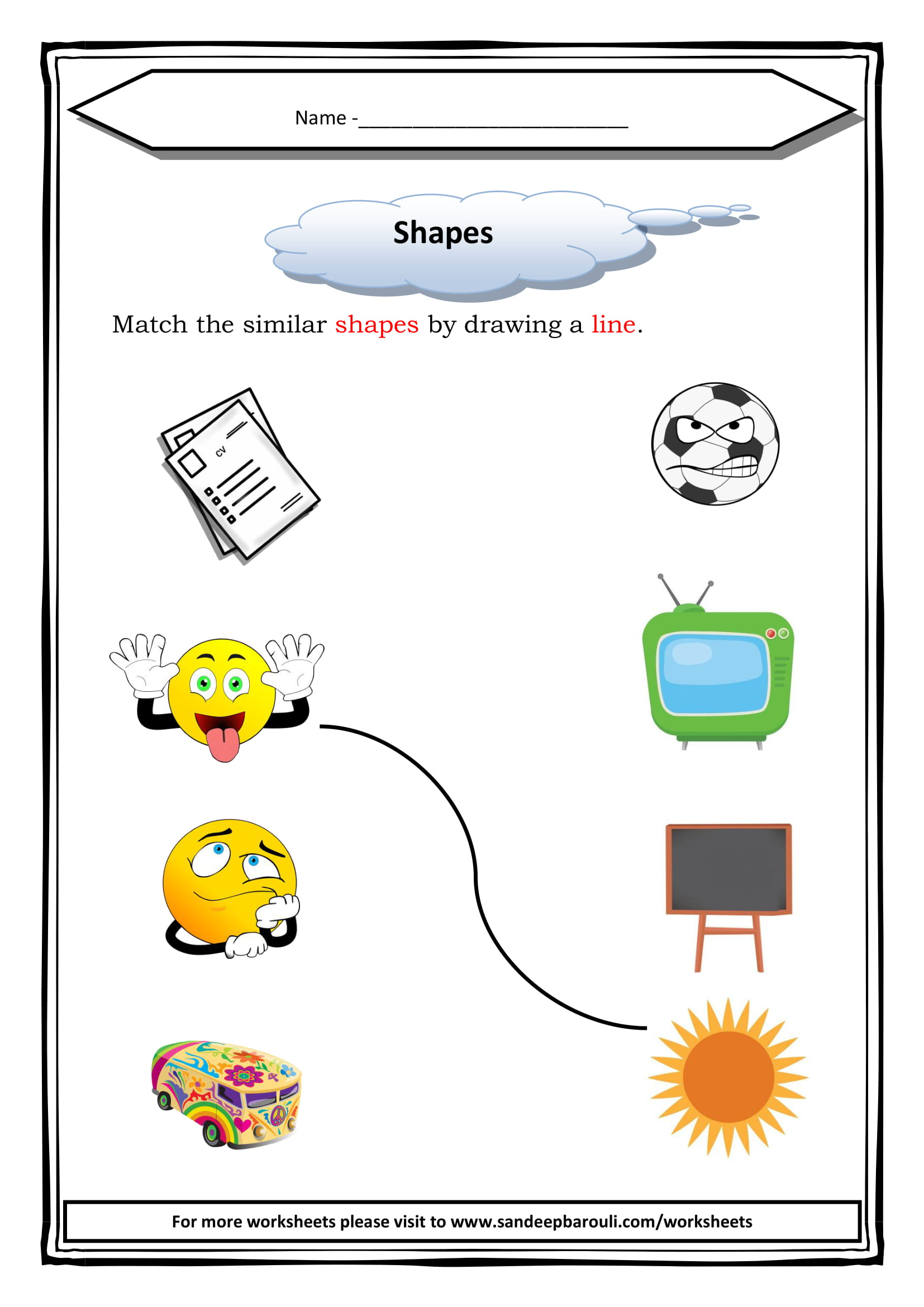 Match The Similar Shapes Worksheet For Class 1