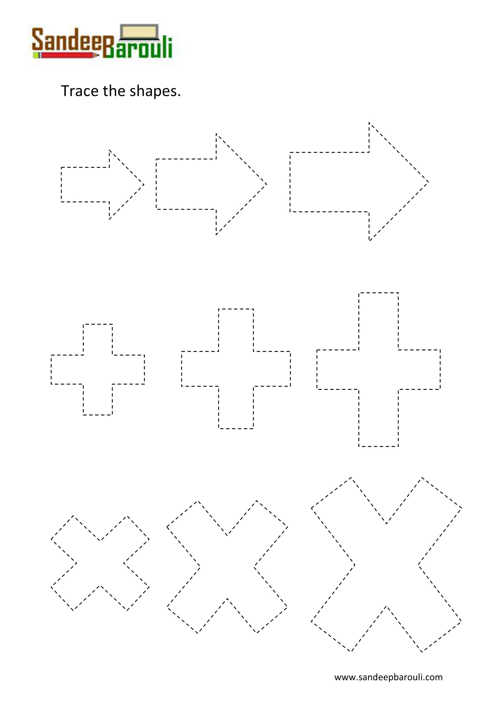 Trace The Shapes Worksheet 2 1 Sandeepbarouli