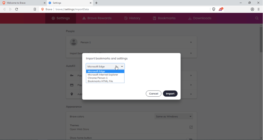 Brave Browser Import Settings