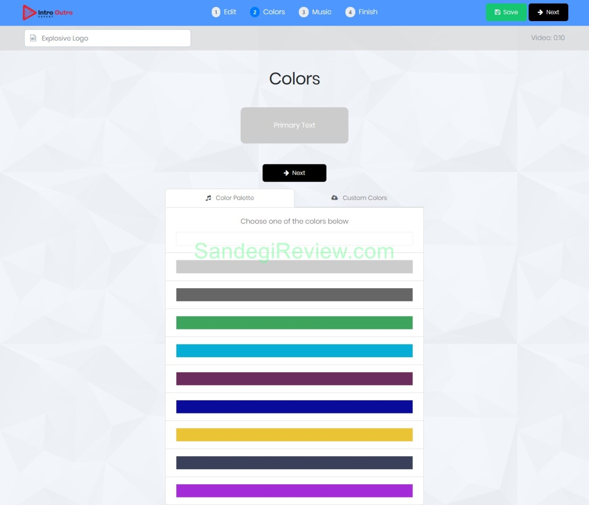 videoappsuite select color
