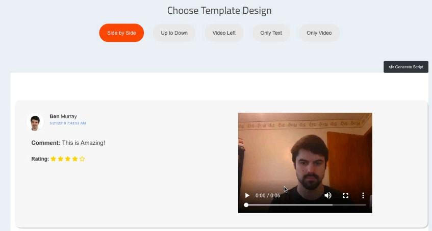 vidmonial 2.0 embed templates