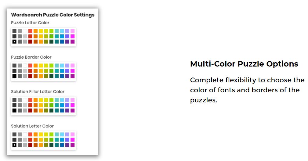 instant puzzle generator features 16 multiple colors