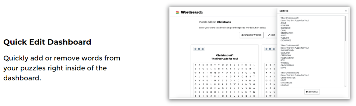 instant puzzle generator features 2 the dashboard to add and remove words