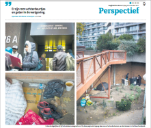 asylumseekers that don't get shelter camp under a nearby building