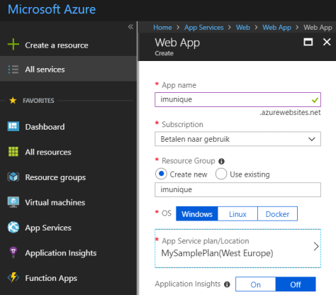 New Azure Web App