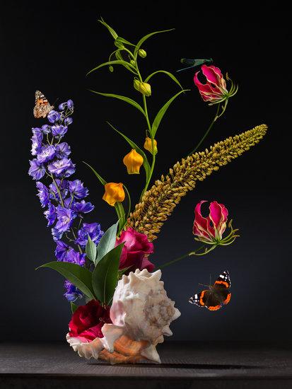 """""""De Schelp"""" is een van de kunstwerken van Sander van Laar die gelimiteerd word aangeboden bij Wallmore.nl. Een prachtig Bloemstilleven waar u dagelijk van kunt genieten op kantoor als in huis"""