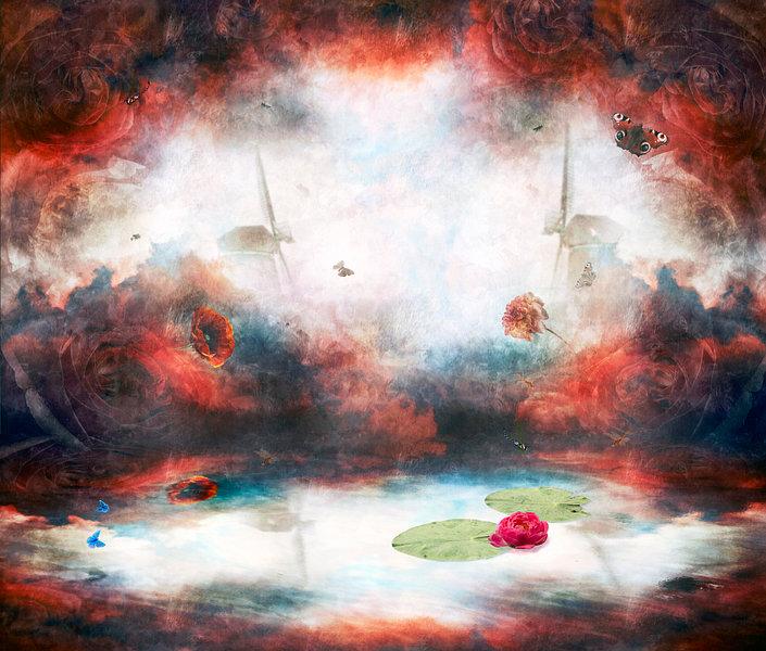 Reflection, disorderd landscape, isabelle minin, werkaandemuur, red, windmill, pioenroos,