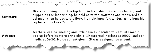 There's even humour in incident reports