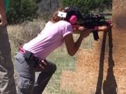 Ashley making 200-yard rifle shots at the 2016 3-Gun University