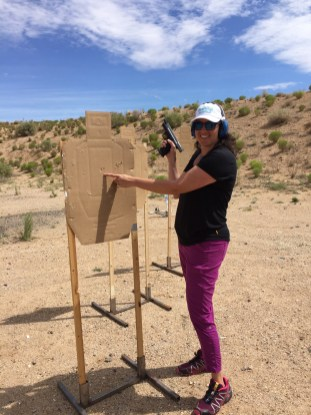 Another new lady shooter with proper instruction hitting the bullseye.