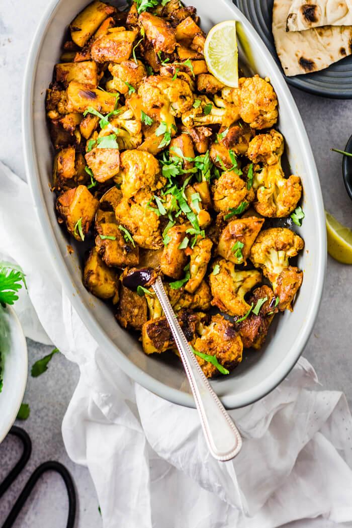Aloo Gobi { Cauliflower with Potatoes }