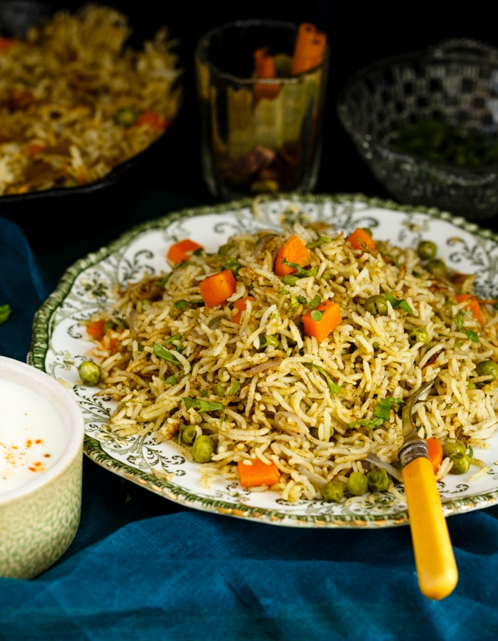 mint coriander pulao rice recipe image