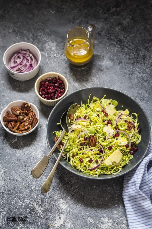 Shredded Brussel Sprouts with Lemon Vinaigrette