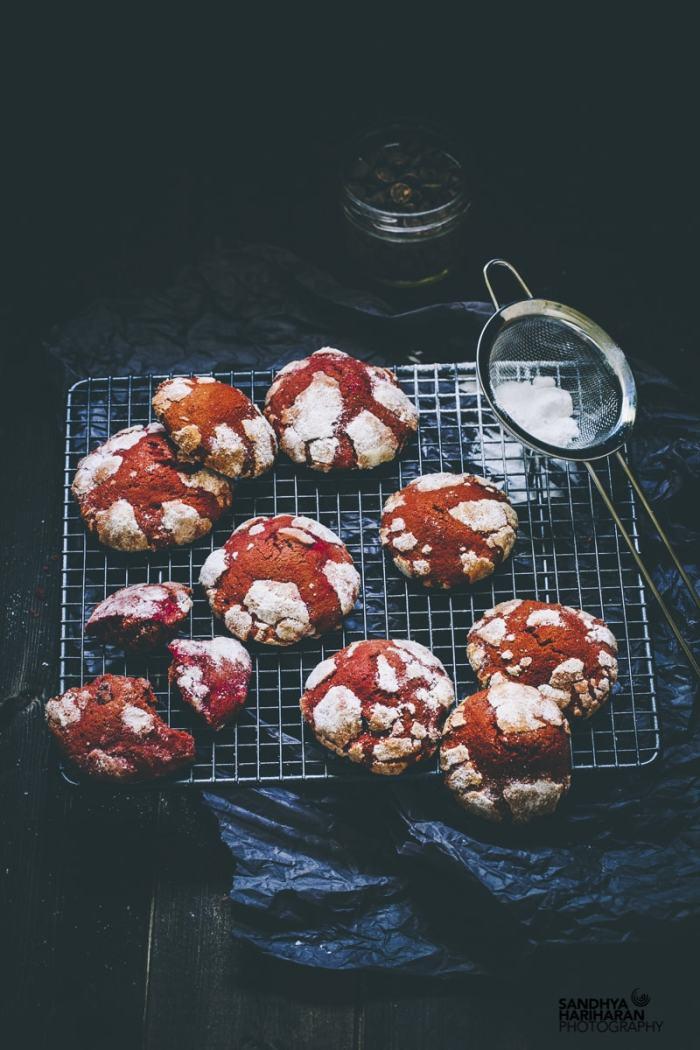 Red Velvet Crinkle Cookies on the cooling rack