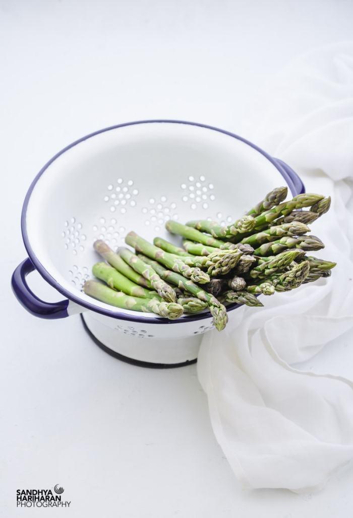 Asparagus in a colander