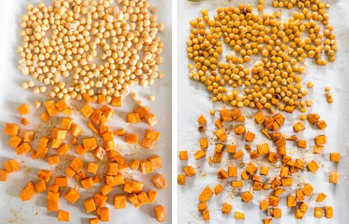 roasted sweet potatoes & chickpeas for buddha bowl