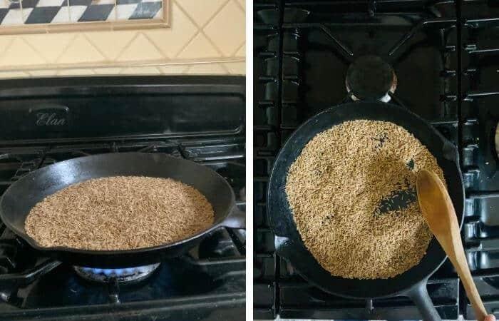 roasting seeds in skillet